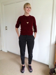 Polka-Dot Stretch Trousers