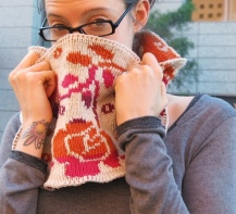 Reversable Floral Knit Cowl