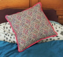 Simple Cushion with Pompom Trim