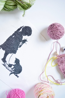 The Girl and Her Cat Cross Stitch Kit