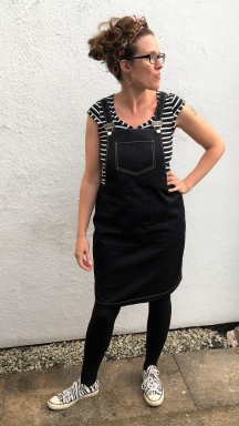 The Not-So-Boring Black Dungaree Dress