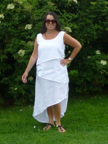 Triple Layered White Linen Dress