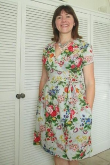 Vintage Casual Wrap Over Dress