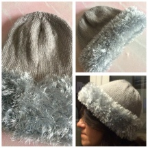 Knitted Hat with Fur Trim